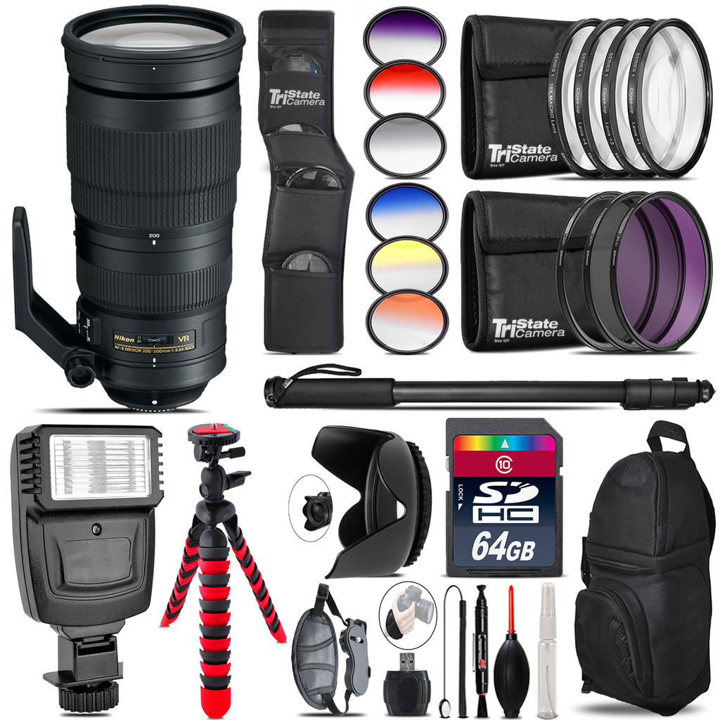 Nikon AF-S 200-500mm  VR Lens + Flash + Color Filter Set - 64GB Accessory Kit *FREE SHIPPING*