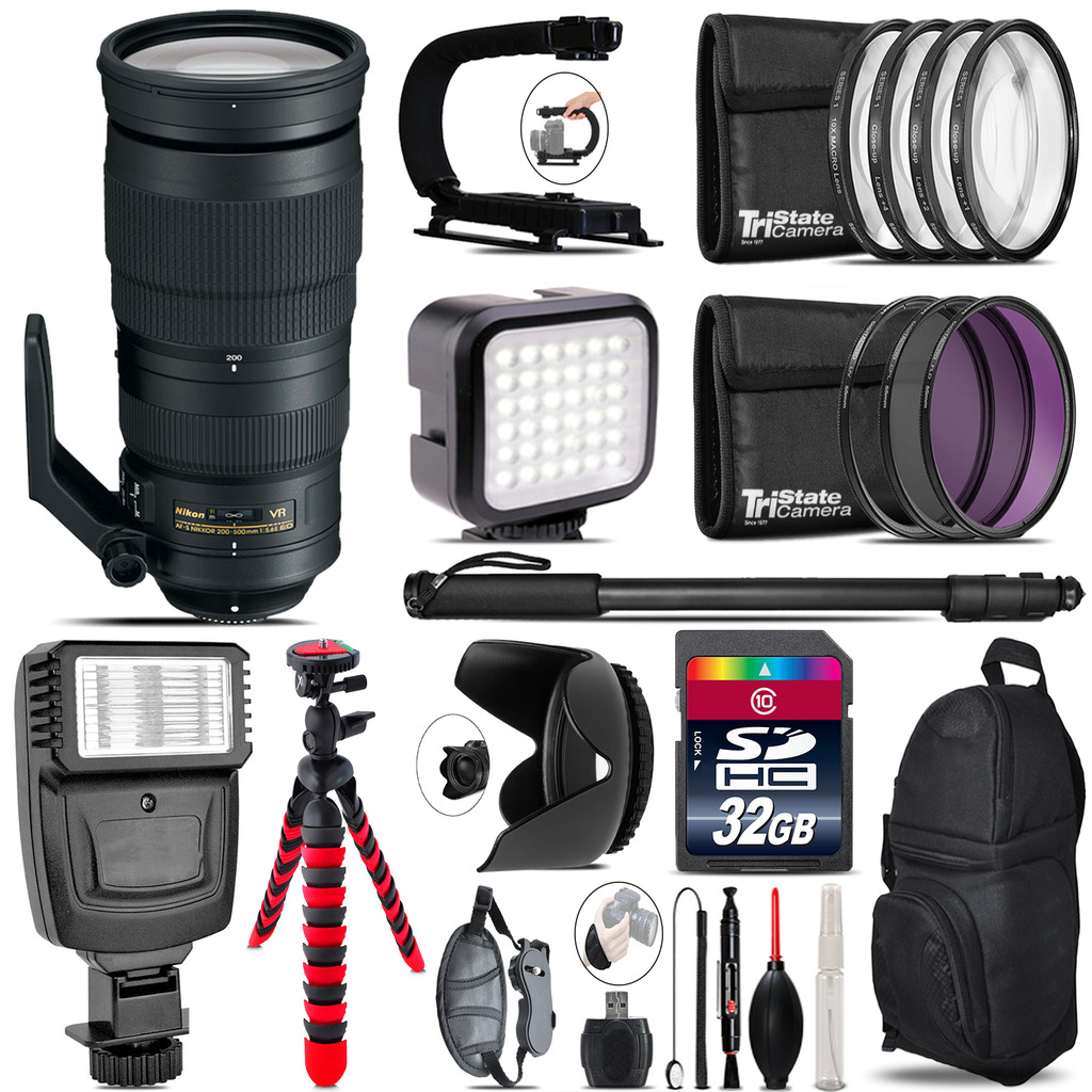 Nikon AF-S 200-500mm  VR Lens - Video Kit +  Flash - 32GB Accessory Bundle *FREE SHIPPING*