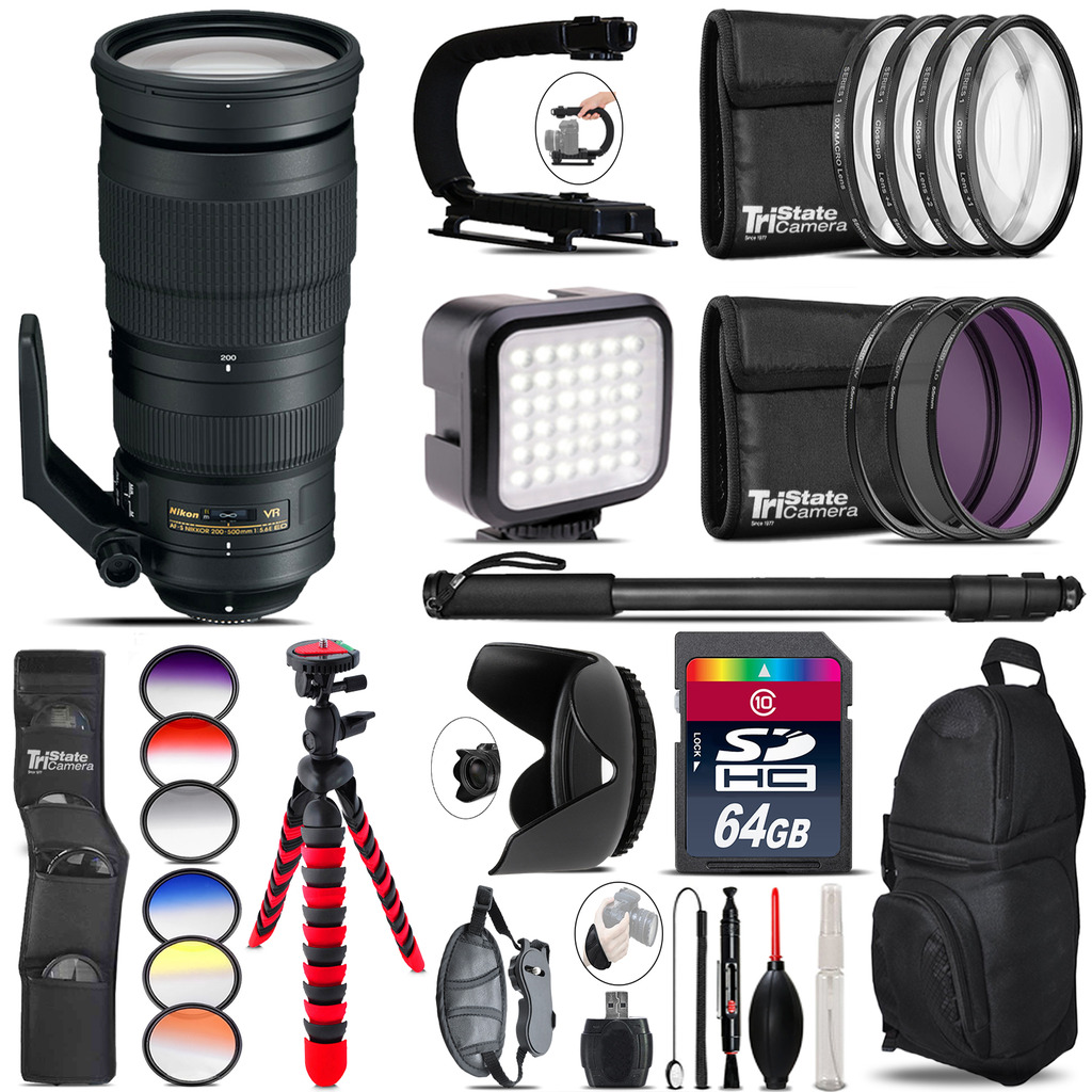 Nikon AF-S 200-500mm  VR Lens - Video Kit + Color Filter - 64GB Accessory Kit *FREE SHIPPING*