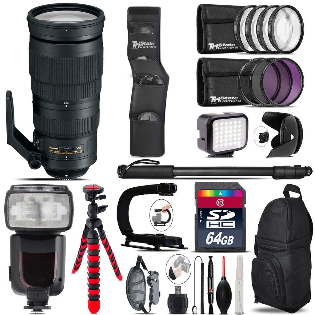 Nikon AF-S 200-500mm  VR Lens + Pro Flash + LED Light - 64GB Accessory Bundle *FREE SHIPPING*
