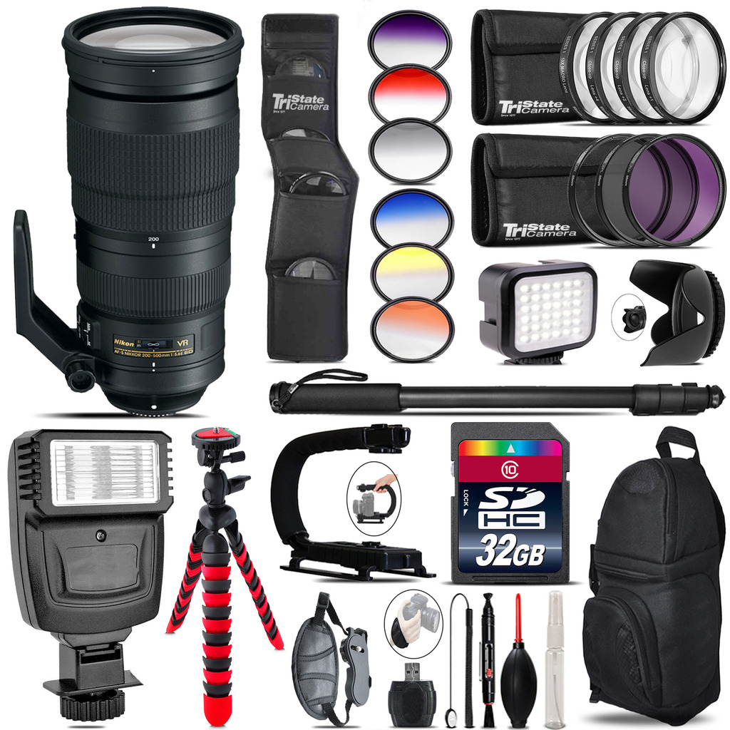 Nikon AF-S 200-500mm  VR Lens + Color Set + LED Light - 32GB Accessory Bundle *FREE SHIPPING*