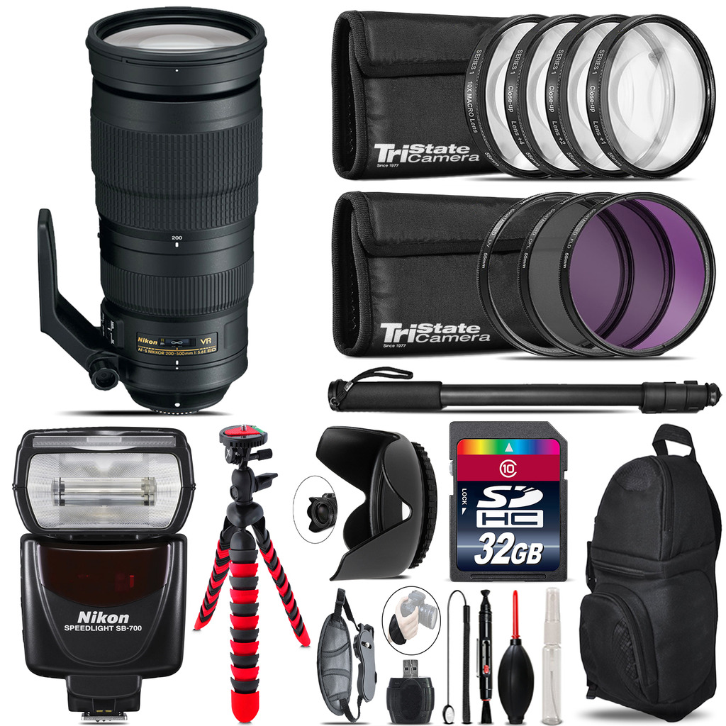 Nikon AF-S 200-500mm  VR Lens + Nikon SB-700 AF Speedlight  & More - 32GB Kit *FREE SHIPPING*