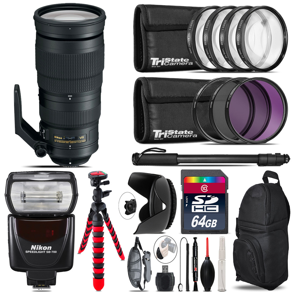Nikon AF-S 200-500mm  VR Lens + Nikon SB-700 AF Speedlight  & More - 64GB Kit *FREE SHIPPING*