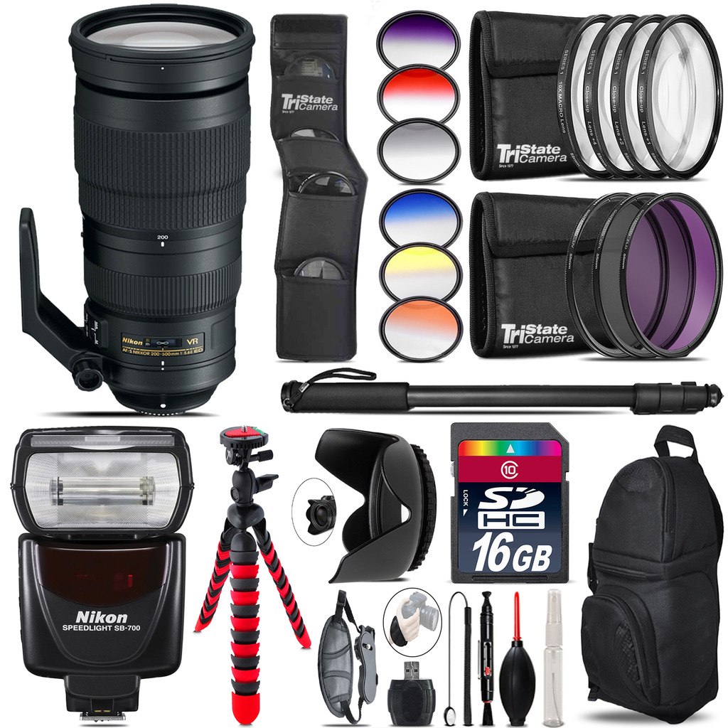 Nikon AF-S 200-500mm  VR Lens + Nikon SB-700 AF Speedlight - 16GB Accessory Kit *FREE SHIPPING*