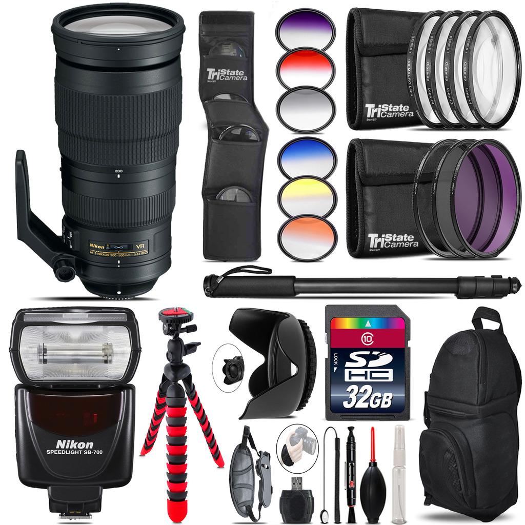 Nikon AF-S 200-500mm  VR Lens + Nikon SB-700 AF Speedlight - 32GB Accessory Kit *FREE SHIPPING*