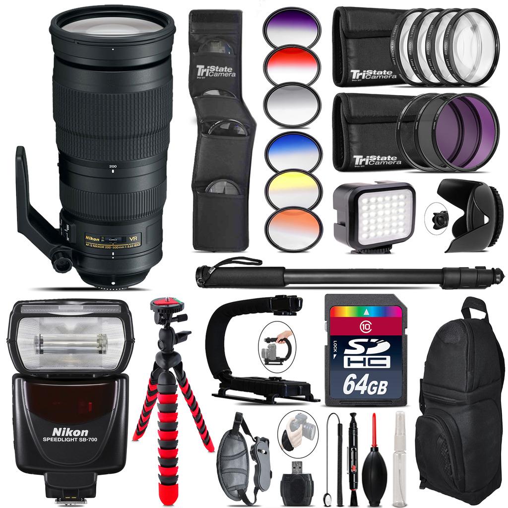 Nikon AF-S 200-500mm  VR Lens + SB-700 AF Speedlight + LED - 64GB Accessory Kit *FREE SHIPPING*