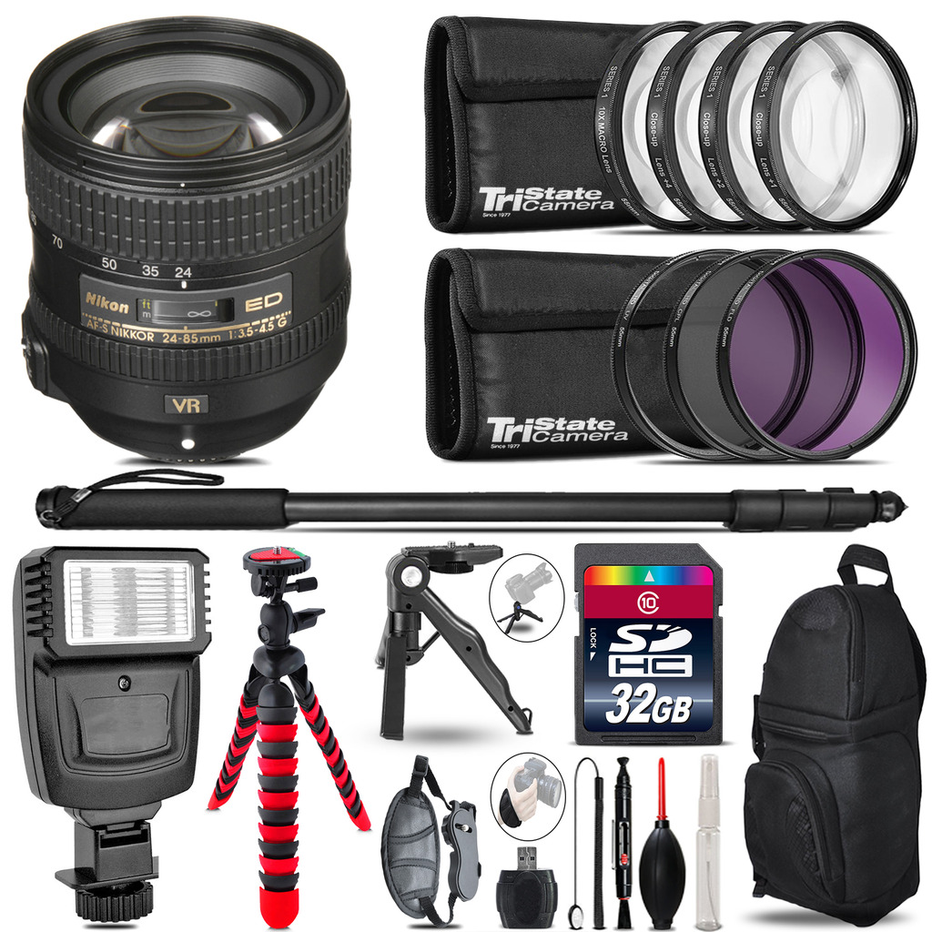 Nikon AFS 24-85mm VR + Slave Flash + MACRO, UV-CPL-FLD - 32GB Accessory Bundle *FREE SHIPPING*