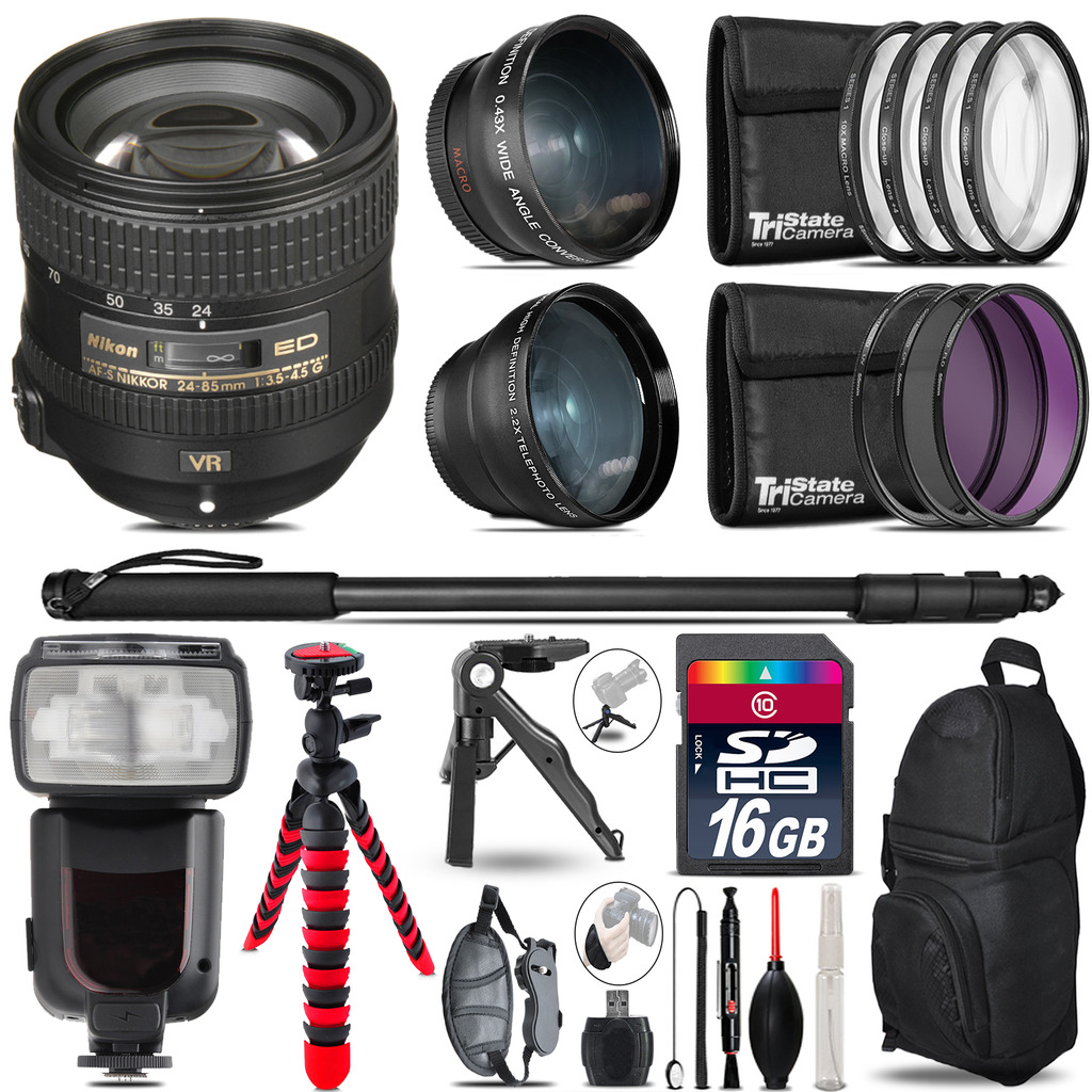 Nikon AFS 24-85mm VR - 3 Lens Kit + Professional Flash - 16GB Accessory Bundle *FREE SHIPPING*