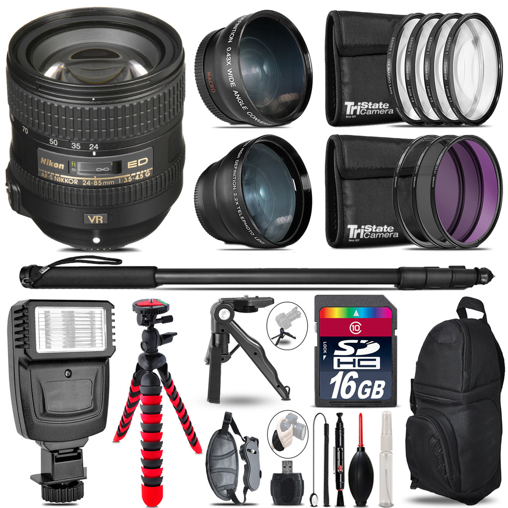 Nikon AFS 24-85mm VR -3 Lens Kit + Slave Flash + Tripod - 16GB Accessory Bundle *FREE SHIPPING*