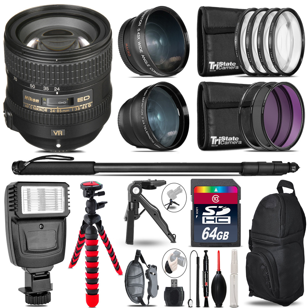 Nikon AFS 24-85mm VR -3 Lens Kit + Slave Flash + Tripod - 64GB Accessory Bundle *FREE SHIPPING*