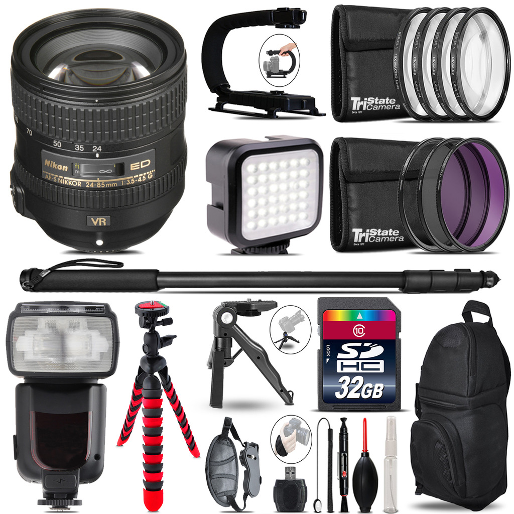 Nikon AFS 24-85mm VR - Video Kit + Pro Flash + Monopod - 32GB Accessory Bundle *FREE SHIPPING*