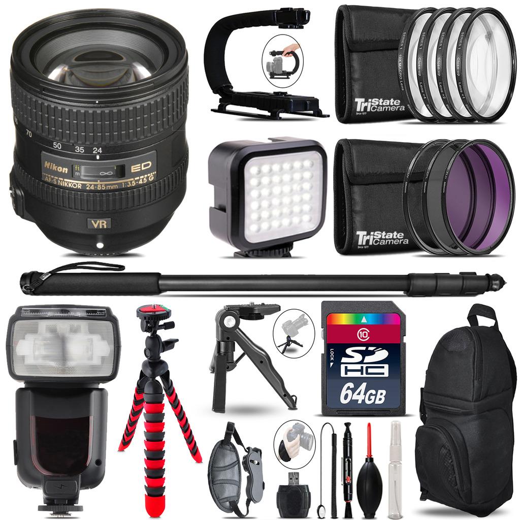Nikon AFS 24-85mm VR - Video Kit + Pro Flash + Monopod - 64GB Accessory Bundle *FREE SHIPPING*