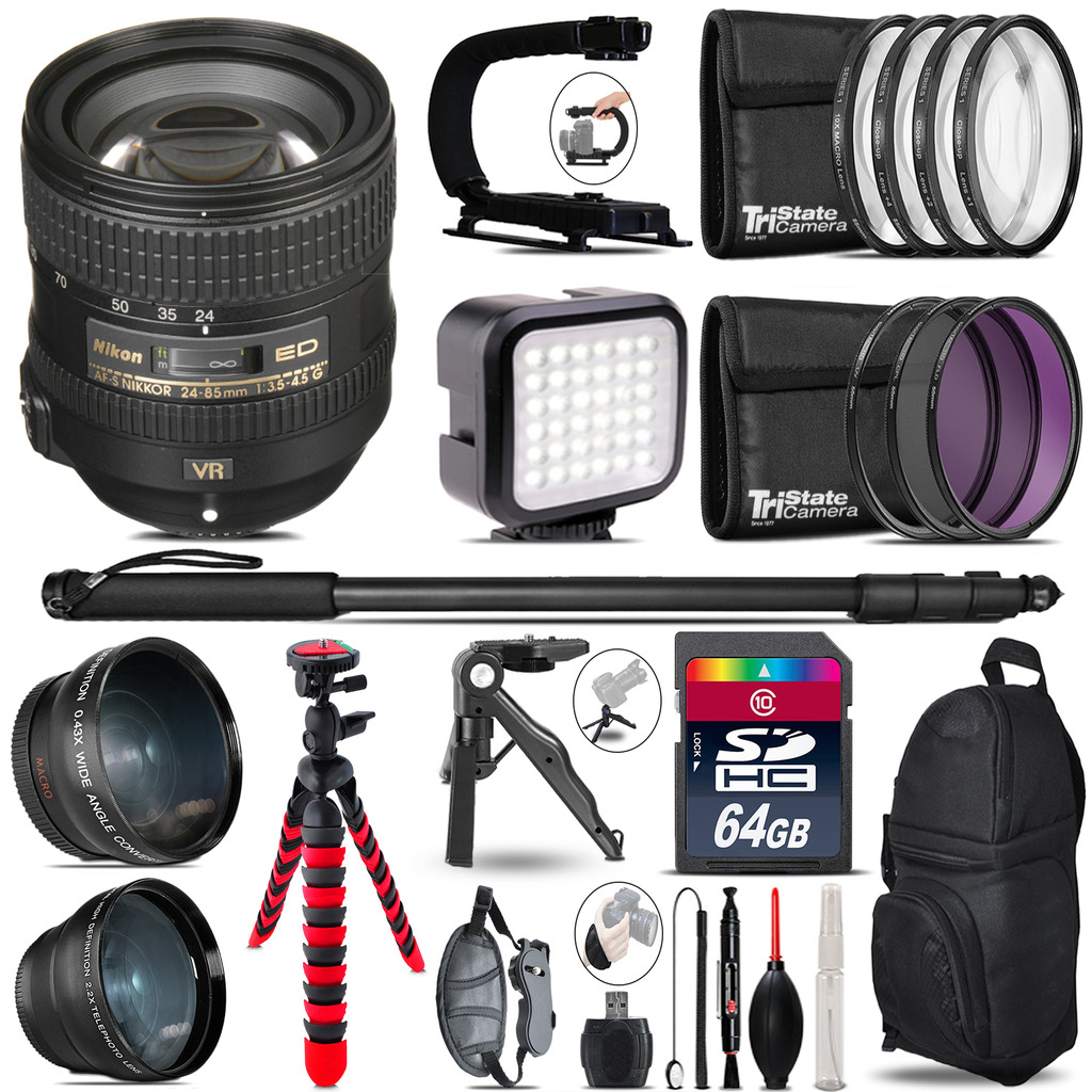 Nikon AF-S 24-85mm VR -Video Kit + LED KIt + Monopod - 64GB Accessory Bundle *FREE SHIPPING*