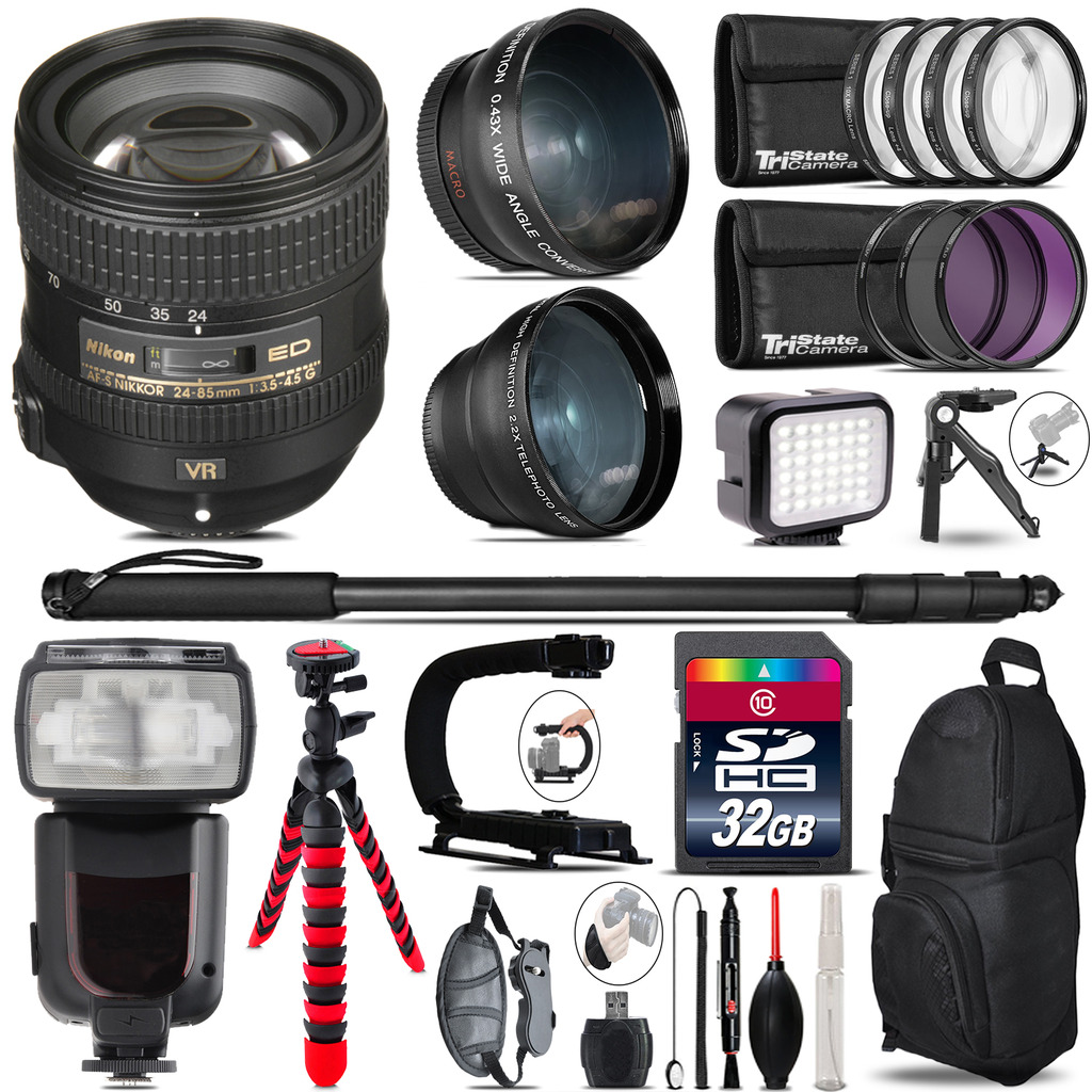 Nikon AFS 24-85mm VR + Pro Flash + LED Light + Tripod - 32GB Accessory Bundle *FREE SHIPPING*