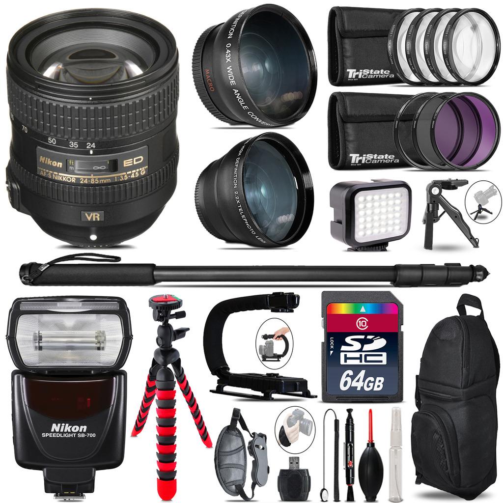 Nikon AFS 24-85mm VR + SB-700 AF Speedlight - LED LIGHT - 64GB Accessory Kit *FREE SHIPPING*
