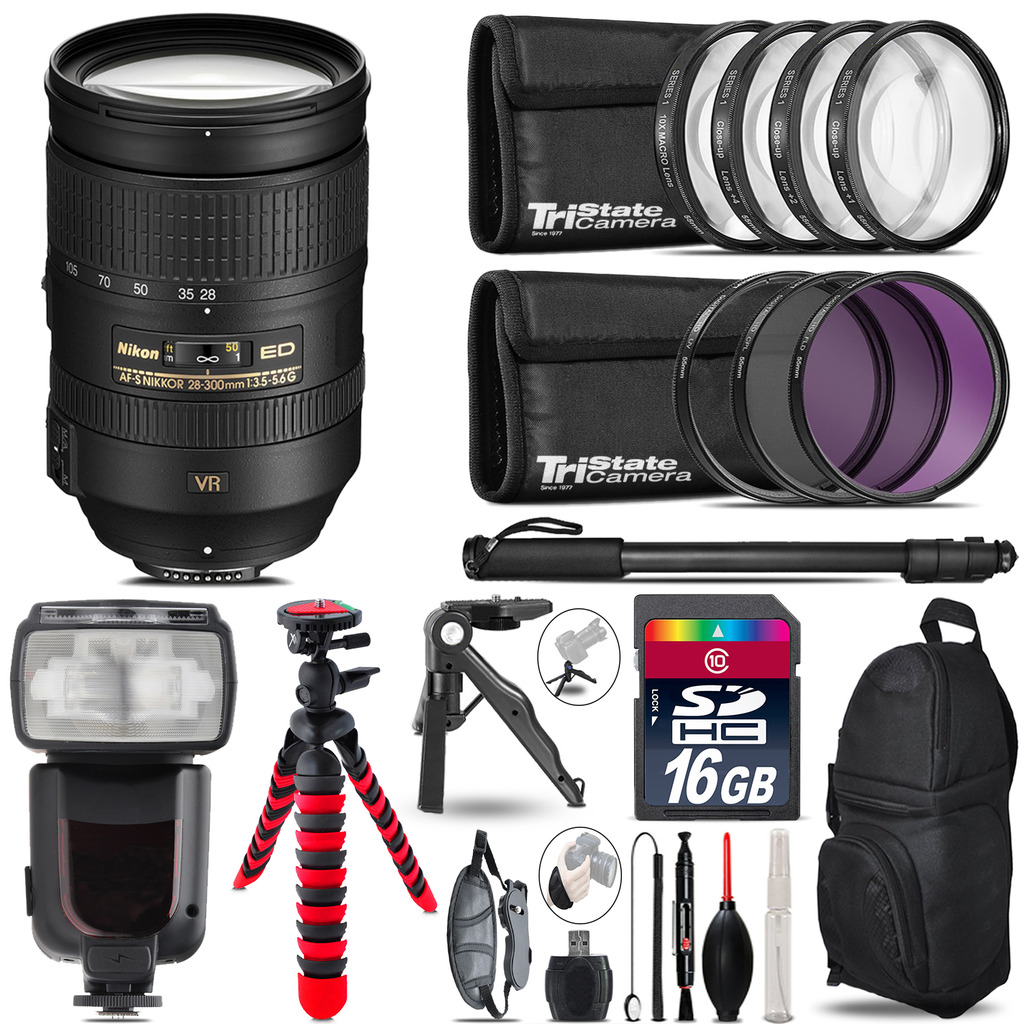 Nikon 28-300mm VR + Professional Flash + Macro Kit - 16GB Accessory Bundle *FREE SHIPPING*