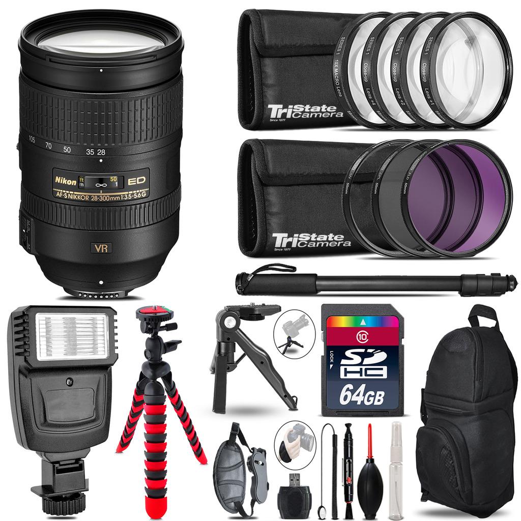 Nikon 28-300mm VR + Slave Flash + MACRO, UV-CPL-FLD - 64GB Accessory Bundle *FREE SHIPPING*
