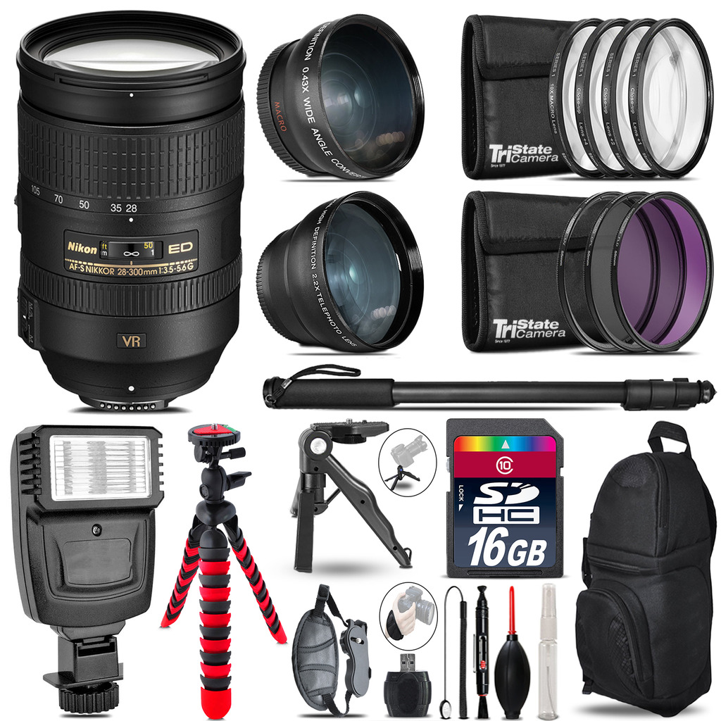 Nikon 28-300mm VR -3 Lens Kit + Slave Flash + Tripod - 16GB Accessory Bundle *FREE SHIPPING*