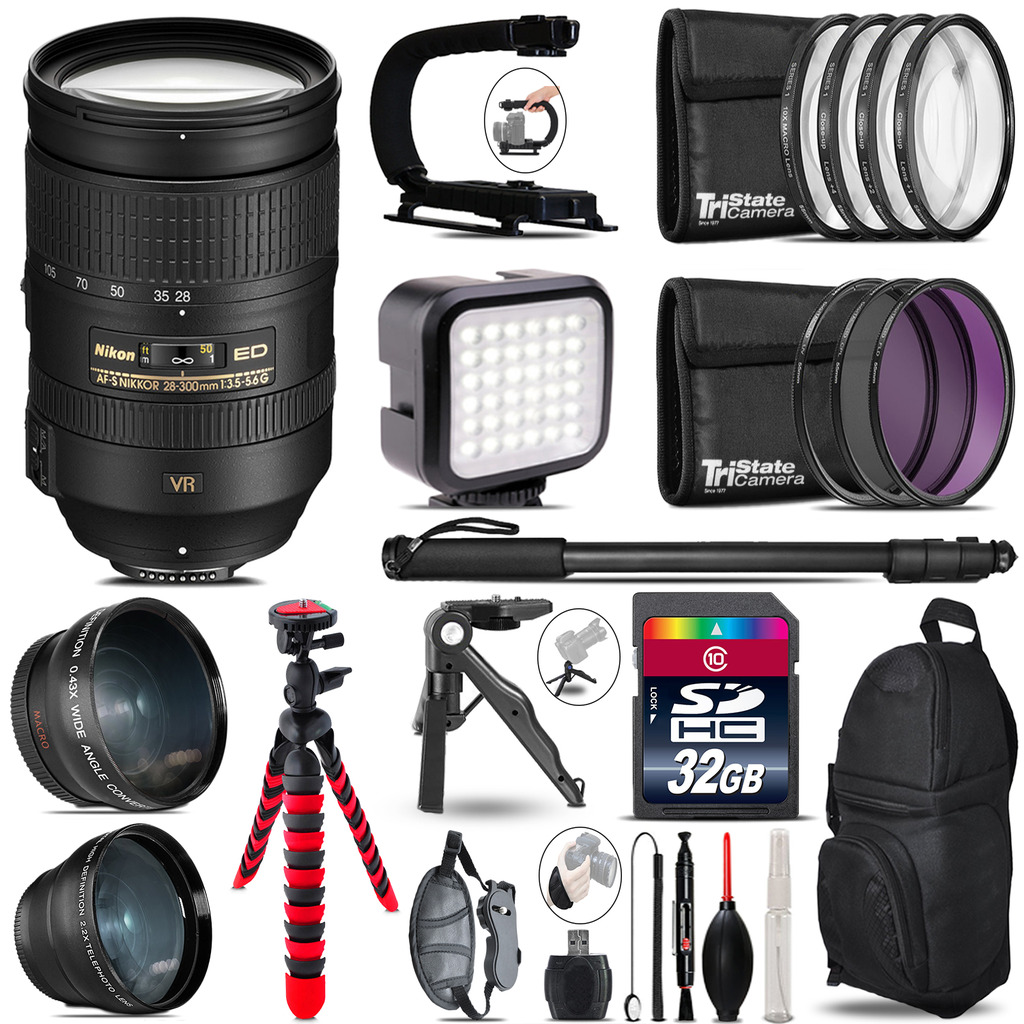 Nikon AF-S 28-300mm VR  -Video Kit + LED KIt + Monopod - 32GB Accessory Bundle *FREE SHIPPING*