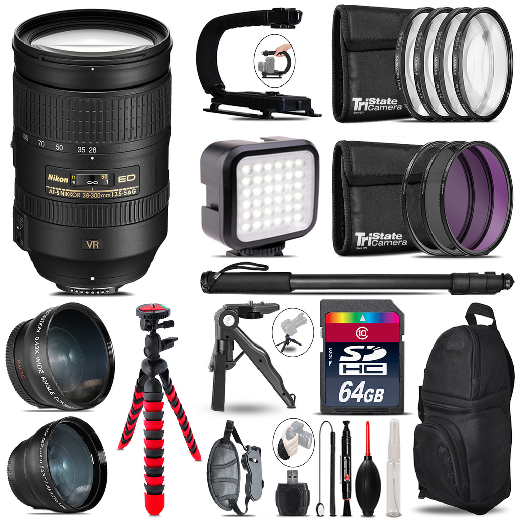 Nikon AF-S 28-300mm VR  -Video Kit + LED KIt + Monopod - 64GB Accessory Bundle *FREE SHIPPING*