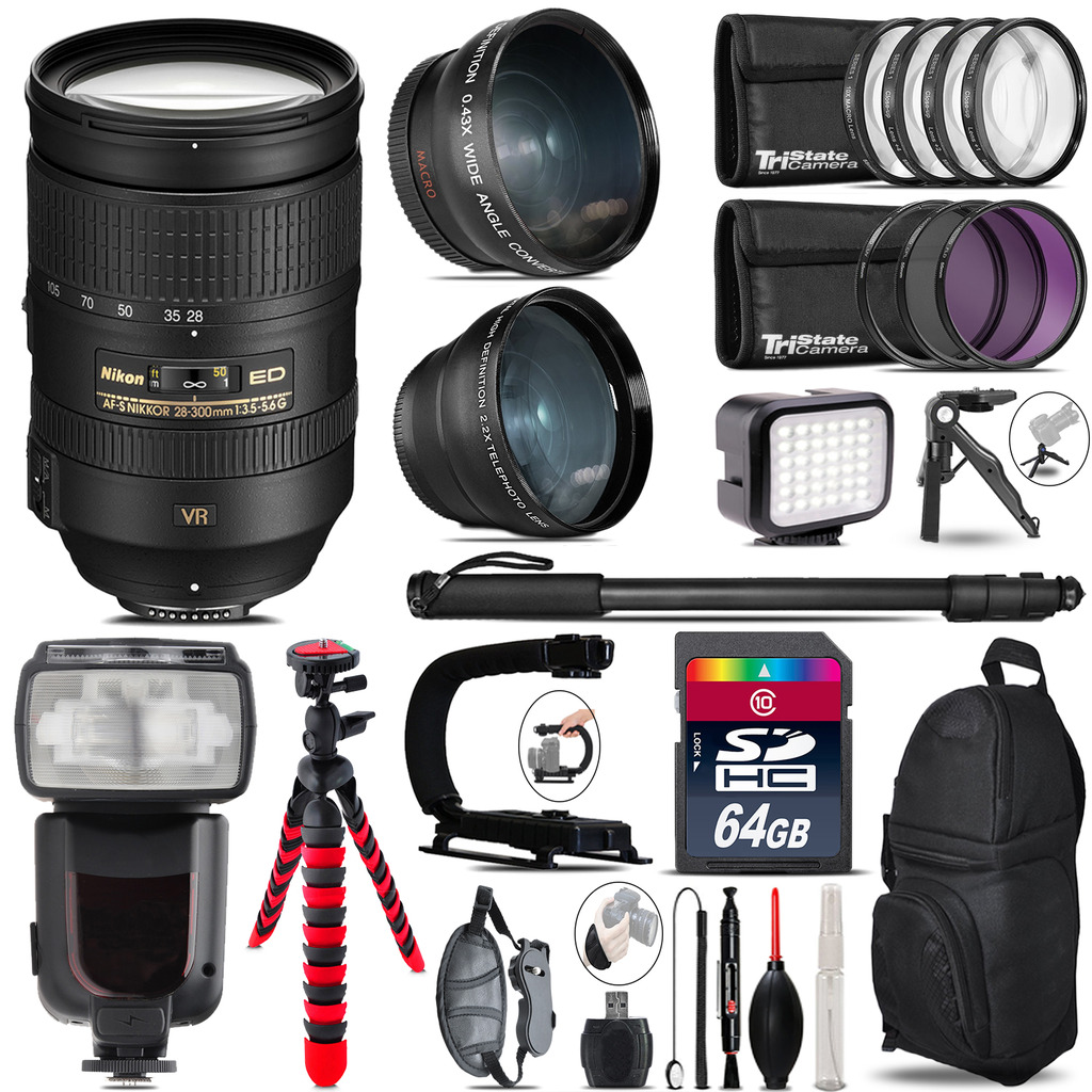 Nikon 28-300mm VR + Pro Flash + LED Light + Tripod - 64GB Accessory Bundle *FREE SHIPPING*