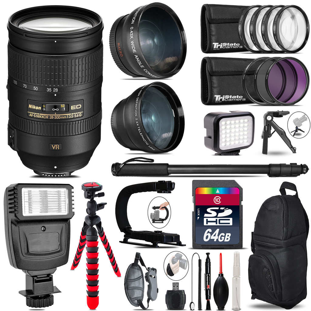 Nikon 28-300mm VR + Slave Flash + LED Light + Tripod - 64GB Accessory Bundle *FREE SHIPPING*