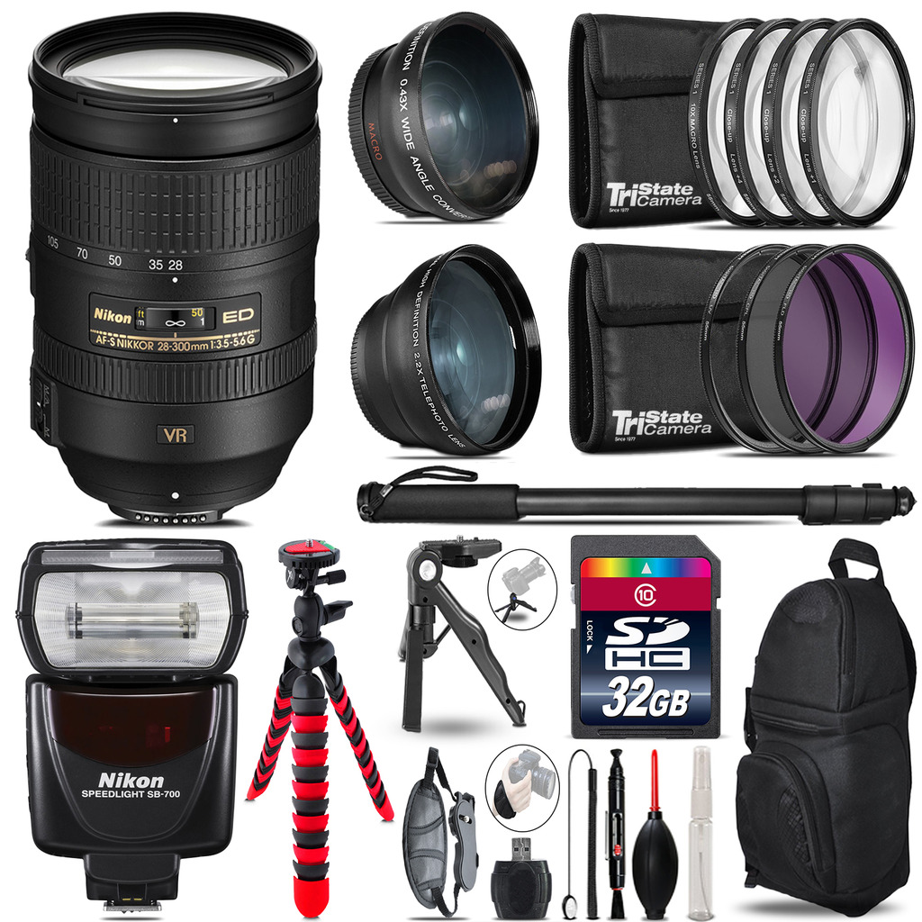 Nikon 28-300mm VR + SB-700 AF Speedlight - 3 Lens Kit - 32GB Accessory Kit *FREE SHIPPING*
