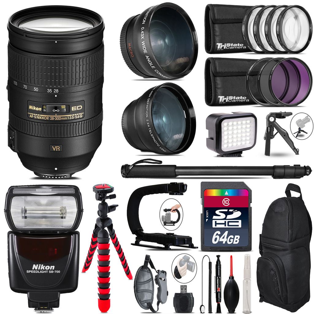 Nikon 28-300mm VR + SB-700 AF Speedlight - LED LIGHT - 64GB Accessory Kit *FREE SHIPPING*