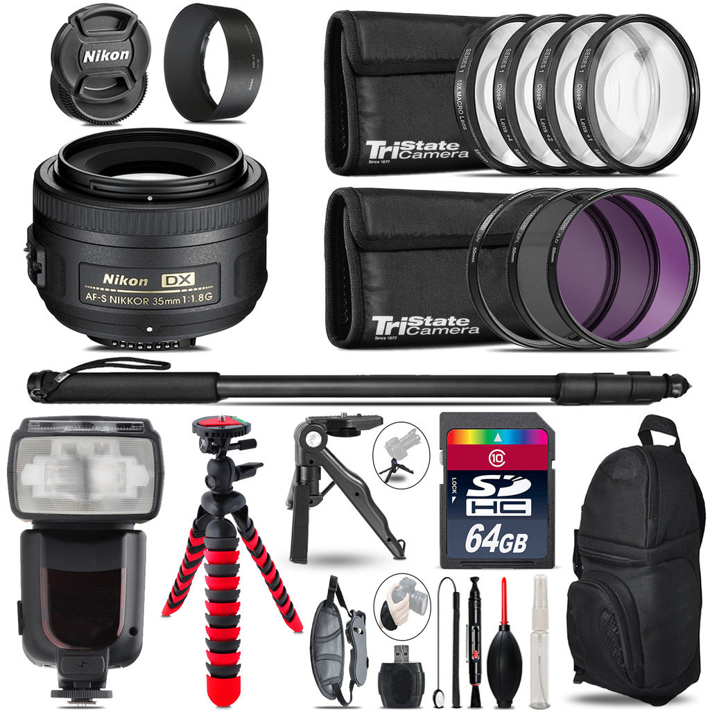 Nikon AFS 35mm 1.8 + Professional Flash + Macro Kit - 64GB Accessory Bundle *FREE SHIPPING*