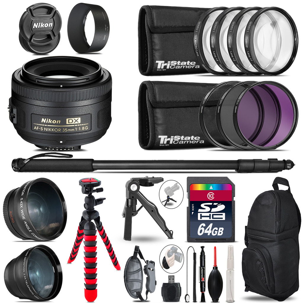 Nikon AFS 35mm 1.8 - 3 Lens Kit + Tripod + Backpack - 64GB Accessory Bundle *FREE SHIPPING*