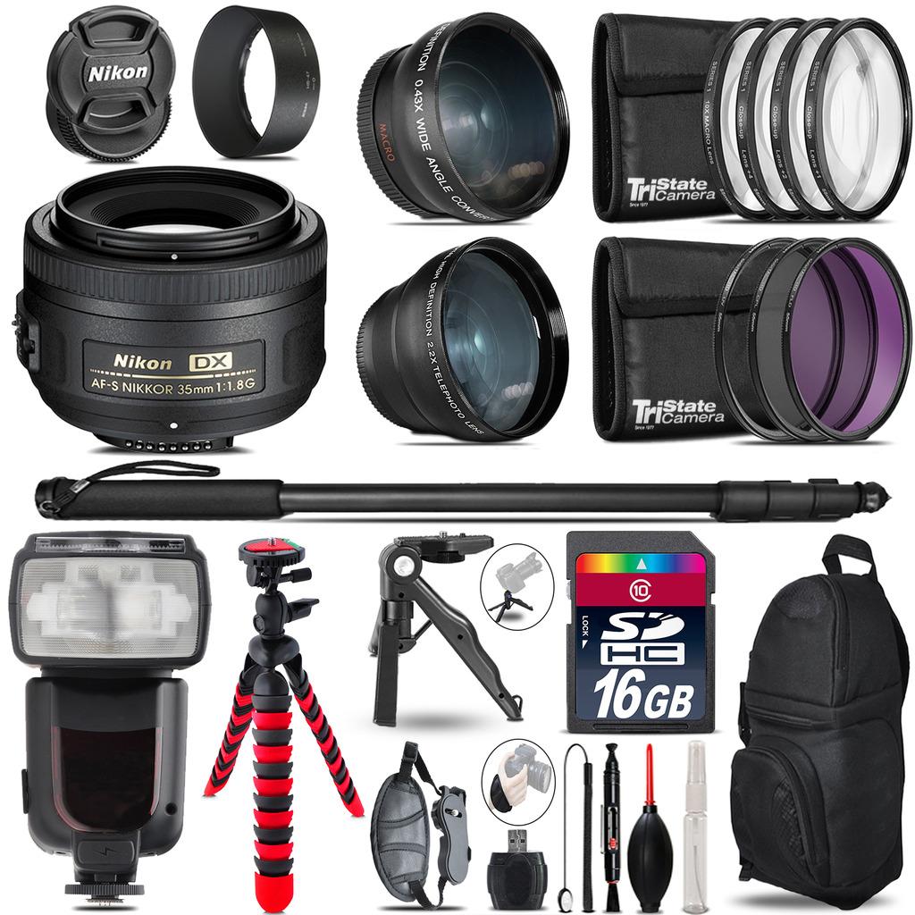 Nikon AFS 35mm 1.8 - 3 Lens Kit + Professional Flash - 16GB Accessory Bundle *FREE SHIPPING*