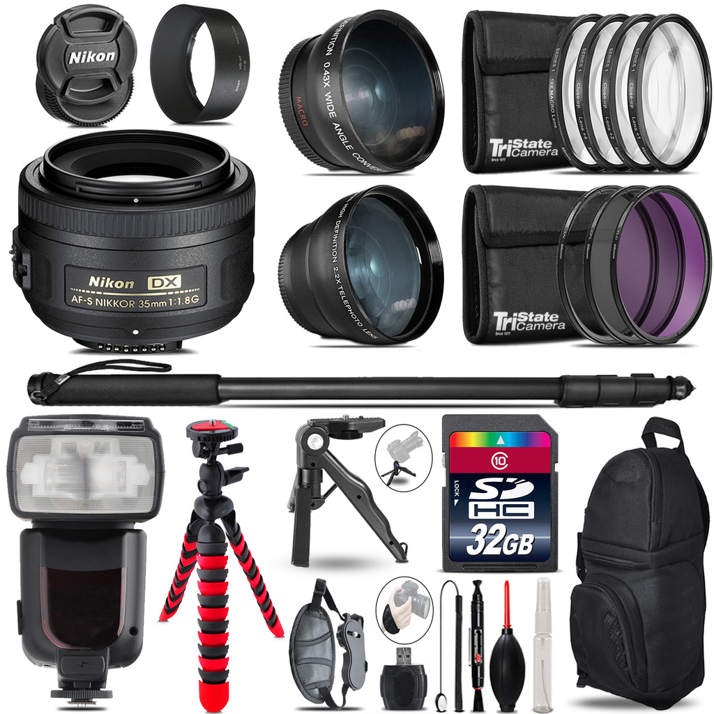 Nikon AFS 35mm 1.8 - 3 Lens Kit + Professional Flash - 32GB Accessory Bundle *FREE SHIPPING*