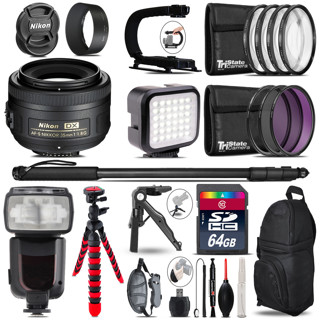 Nikon AFS 35mm 1.8 - Video Kit + Pro Flash + Monopod - 64GB Accessory Bundle *FREE SHIPPING*