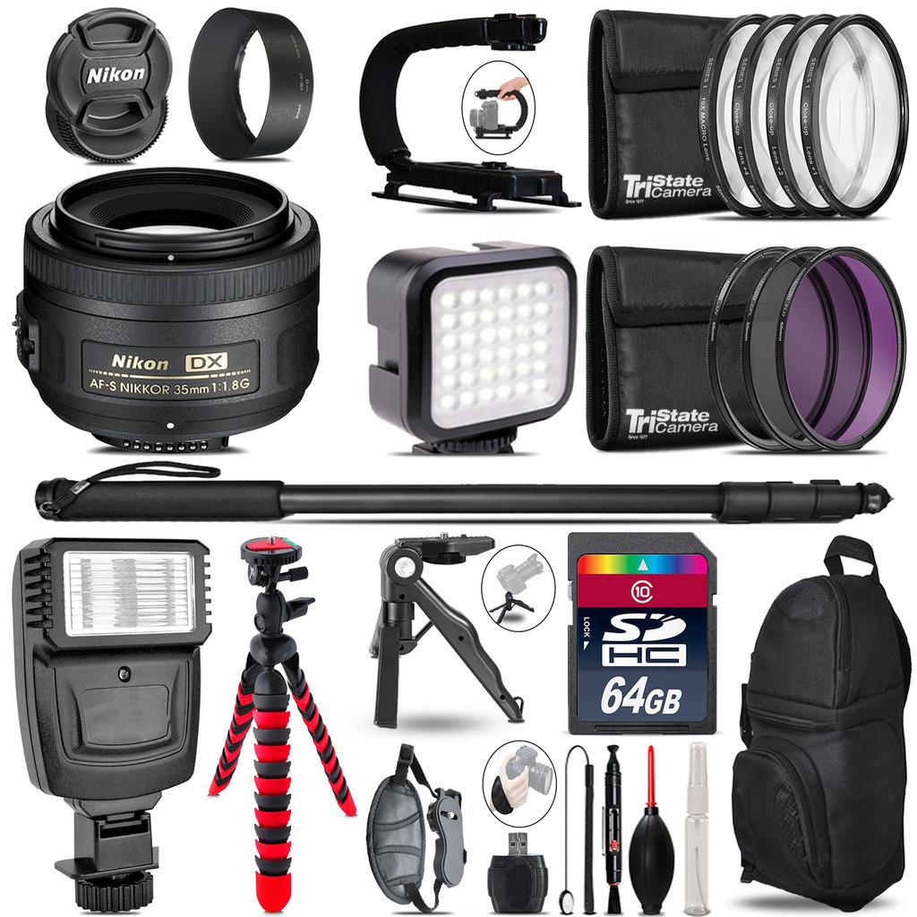 Nikon AFS 35mm 1.8 -Video Kit + Slave Flash + Monopod - 64GB Accessory Bundle *FREE SHIPPING*