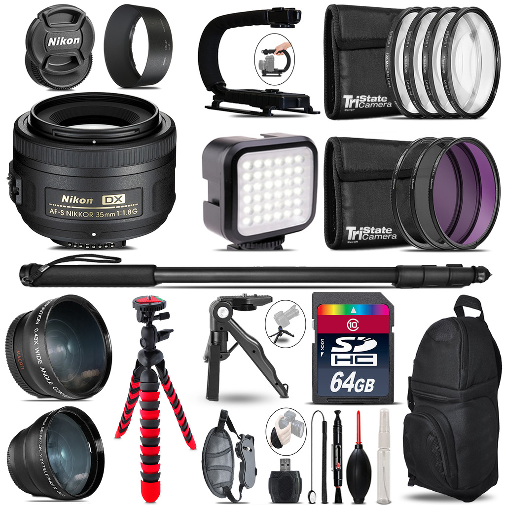Nikon AF-S 35mm 1.8 G -Video Kit + LED KIt + Monopod - 64GB Accessory Bundle *FREE SHIPPING*
