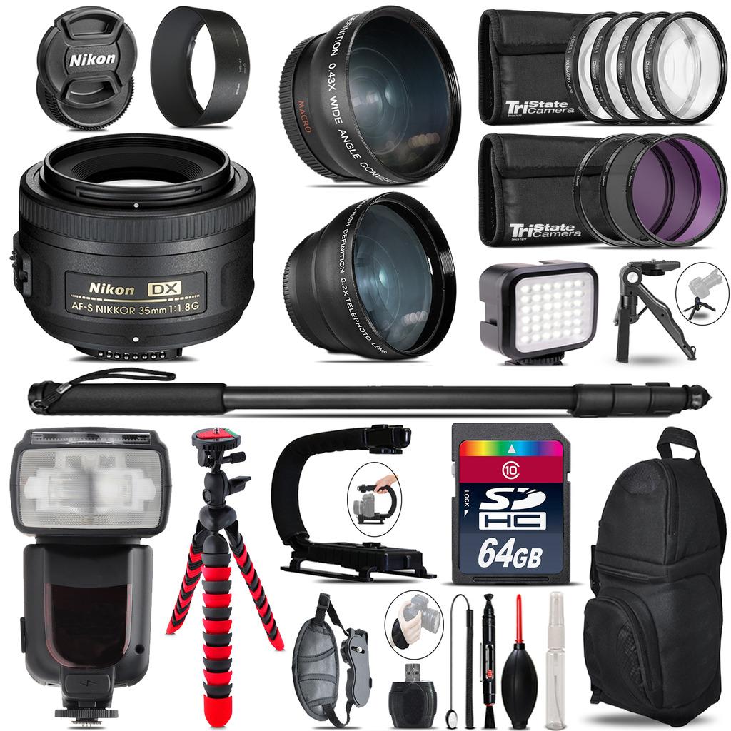 Nikon AFS 35mm 1.8 + Pro Flash + LED Light + Tripod - 64GB Accessory Bundle *FREE SHIPPING*