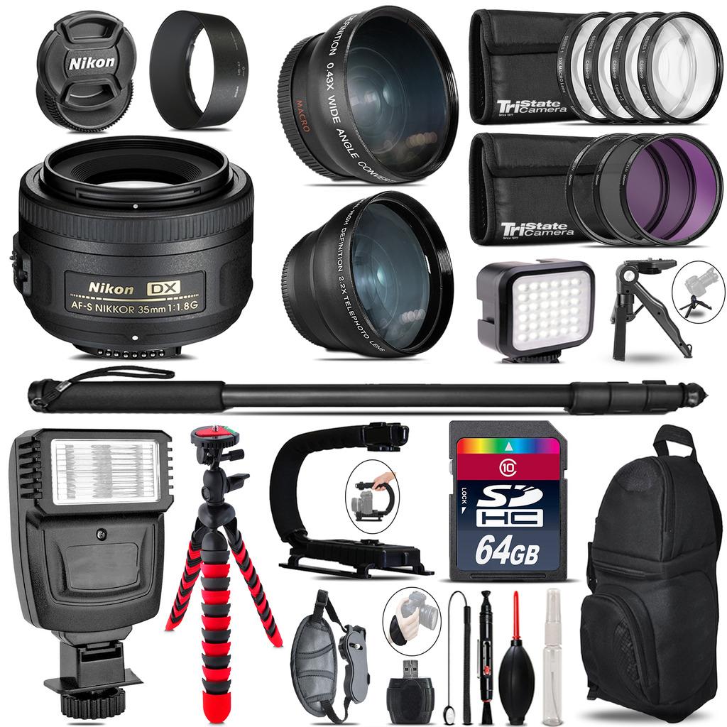 Nikon AFS 35mm 1.8 + Slave Flash + LED Light + Tripod - 64GB Accessory Bundle *FREE SHIPPING*