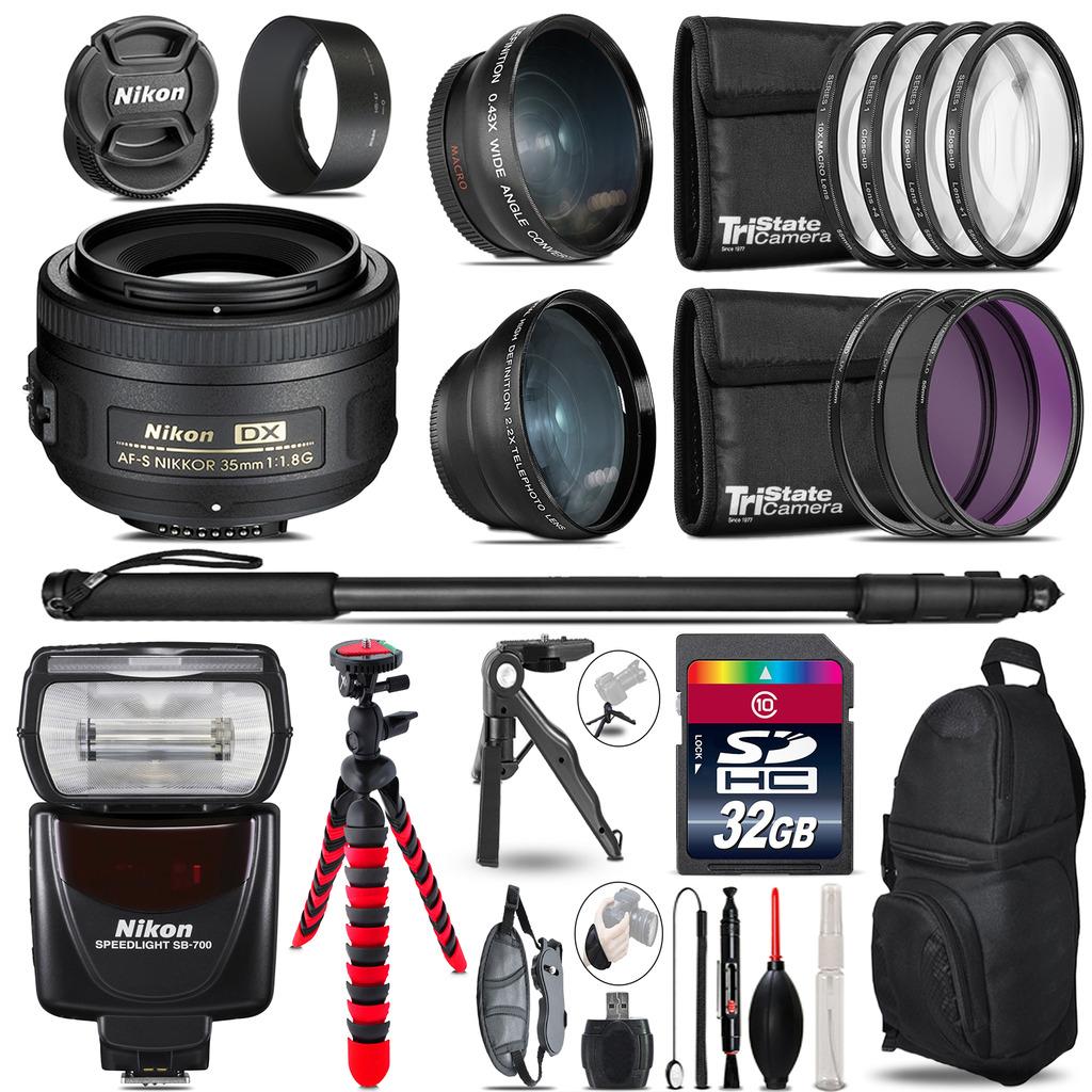 Nikon AFS 35mm 1.8 + SB-700 AF Speedlight - 3 Lens Kit - 32GB Accessory Kit *FREE SHIPPING*