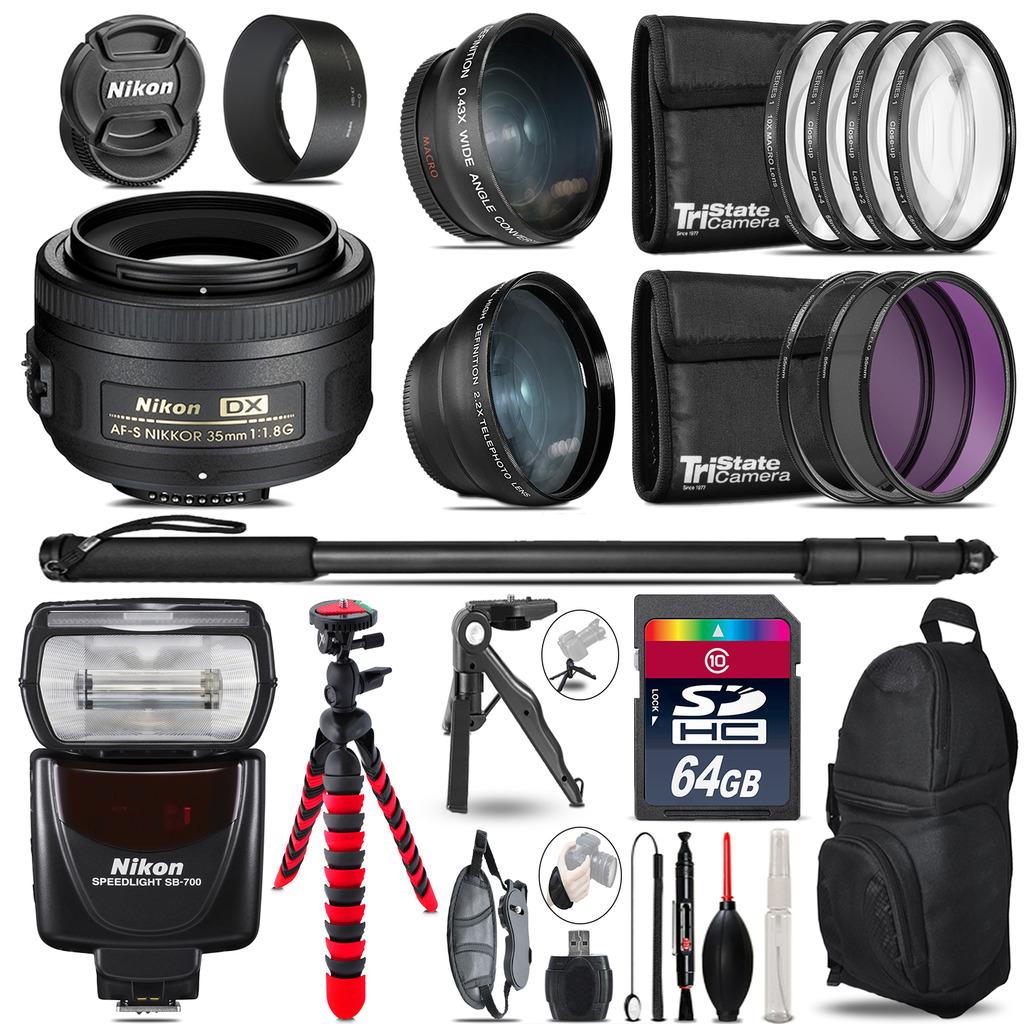 Nikon AFS 35mm 1.8 + SB-700 AF Speedlight - 3 Lens Kit - 64GB Accessory Kit *FREE SHIPPING*