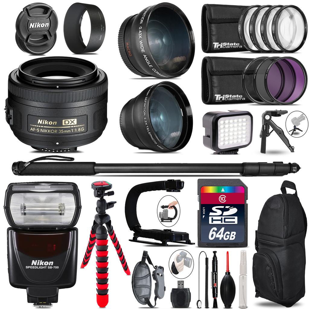 Nikon AFS 35mm 1.8 + SB-700 AF Speedlight - LED LIGHT - 64GB Accessory Kit *FREE SHIPPING*