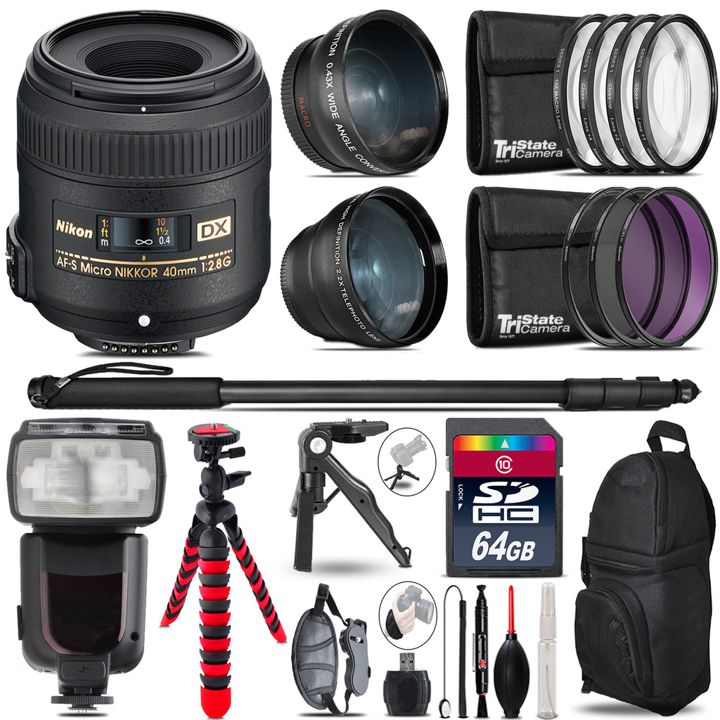 Nikon AFS 40mm 2.8 - 3 Lens Kit + Professional Flash - 64GB Accessory Bundle *FREE SHIPPING*