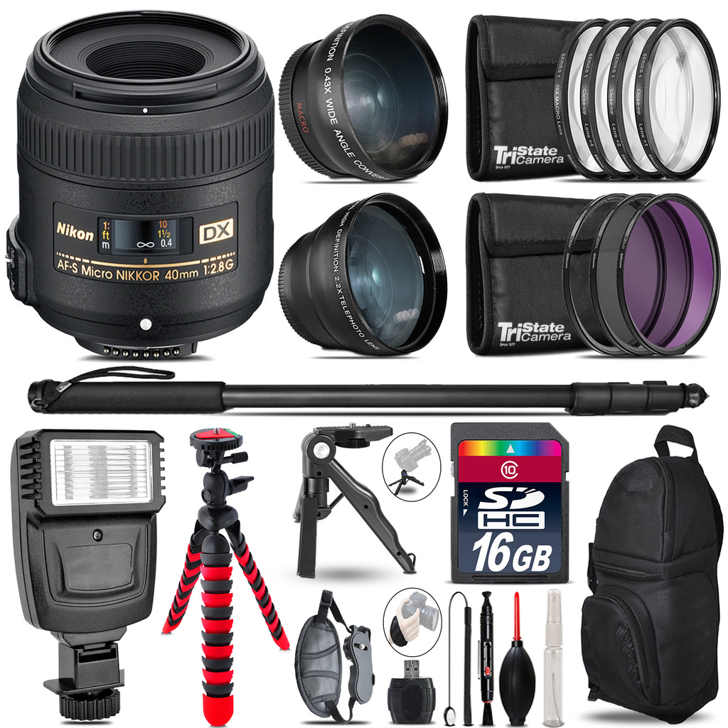Nikon AFS 40mm 2.8 -3 Lens Kit + Slave Flash + Tripod - 16GB Accessory Bundle *FREE SHIPPING*