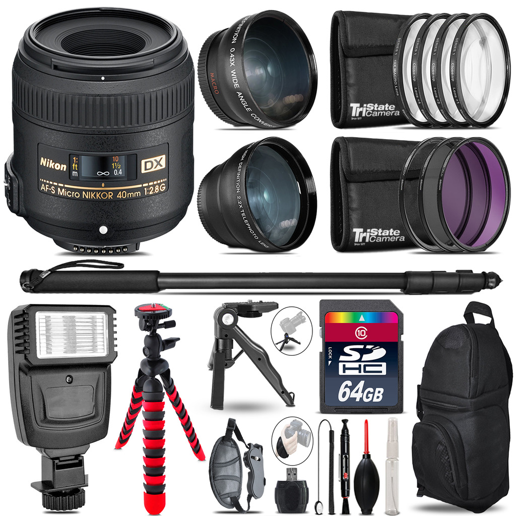 Nikon AFS 40mm 2.8 -3 Lens Kit + Slave Flash + Tripod - 64GB Accessory Bundle *FREE SHIPPING*
