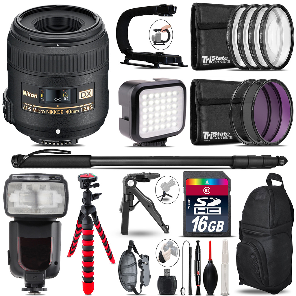 Nikon AFS 40mm 2.8 - Video Kit + Pro Flash + Monopod - 16GB Accessory Bundle *FREE SHIPPING*