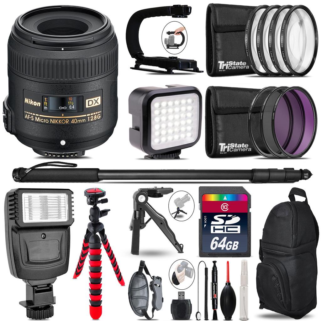 Nikon AFS 40mm 2.8 -Video Kit + Slave Flash + Monopod - 64GB Accessory Bundle *FREE SHIPPING*