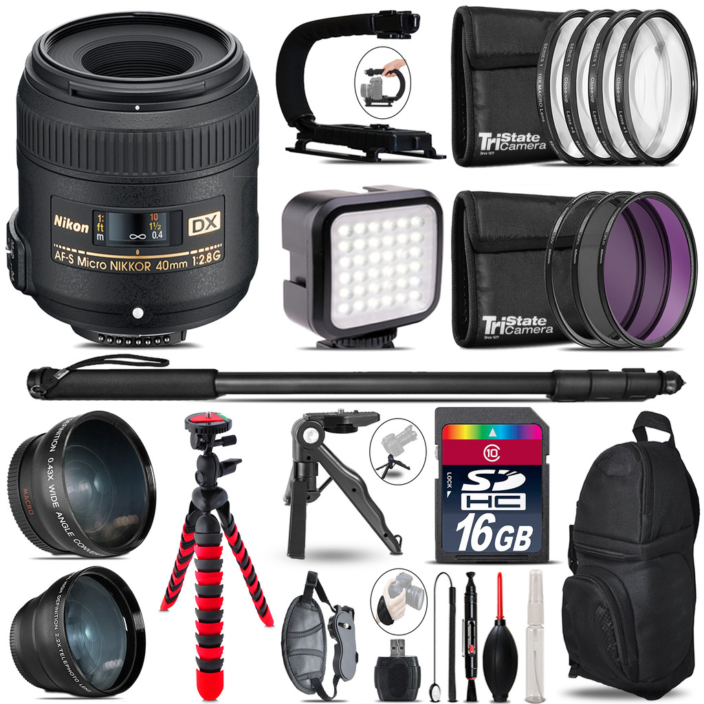Nikon AF-S 40mm 2.8 G -Video Kit + LED KIt + Monopod - 16GB Accessory Bundle *FREE SHIPPING*