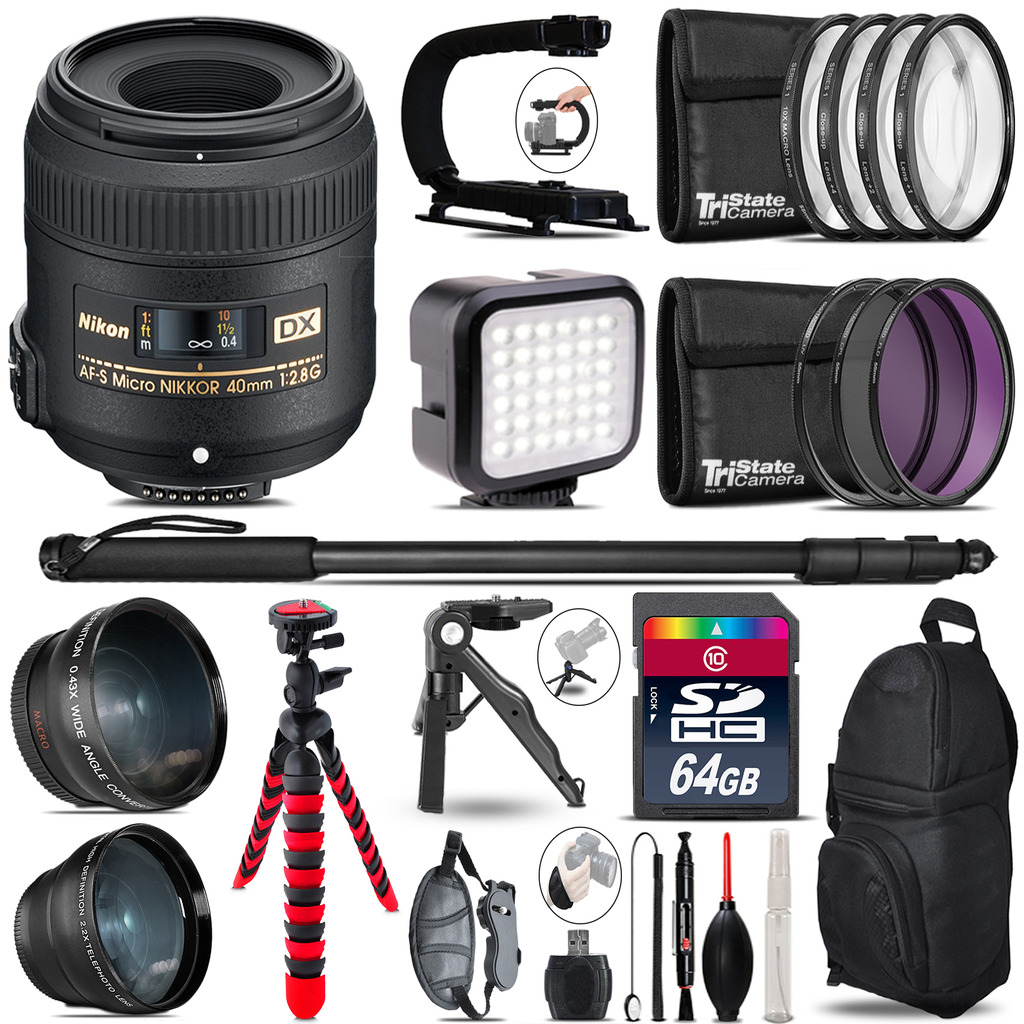 Nikon AF-S 40mm 2.8 G -Video Kit + LED KIt + Monopod - 64GB Accessory Bundle *FREE SHIPPING*