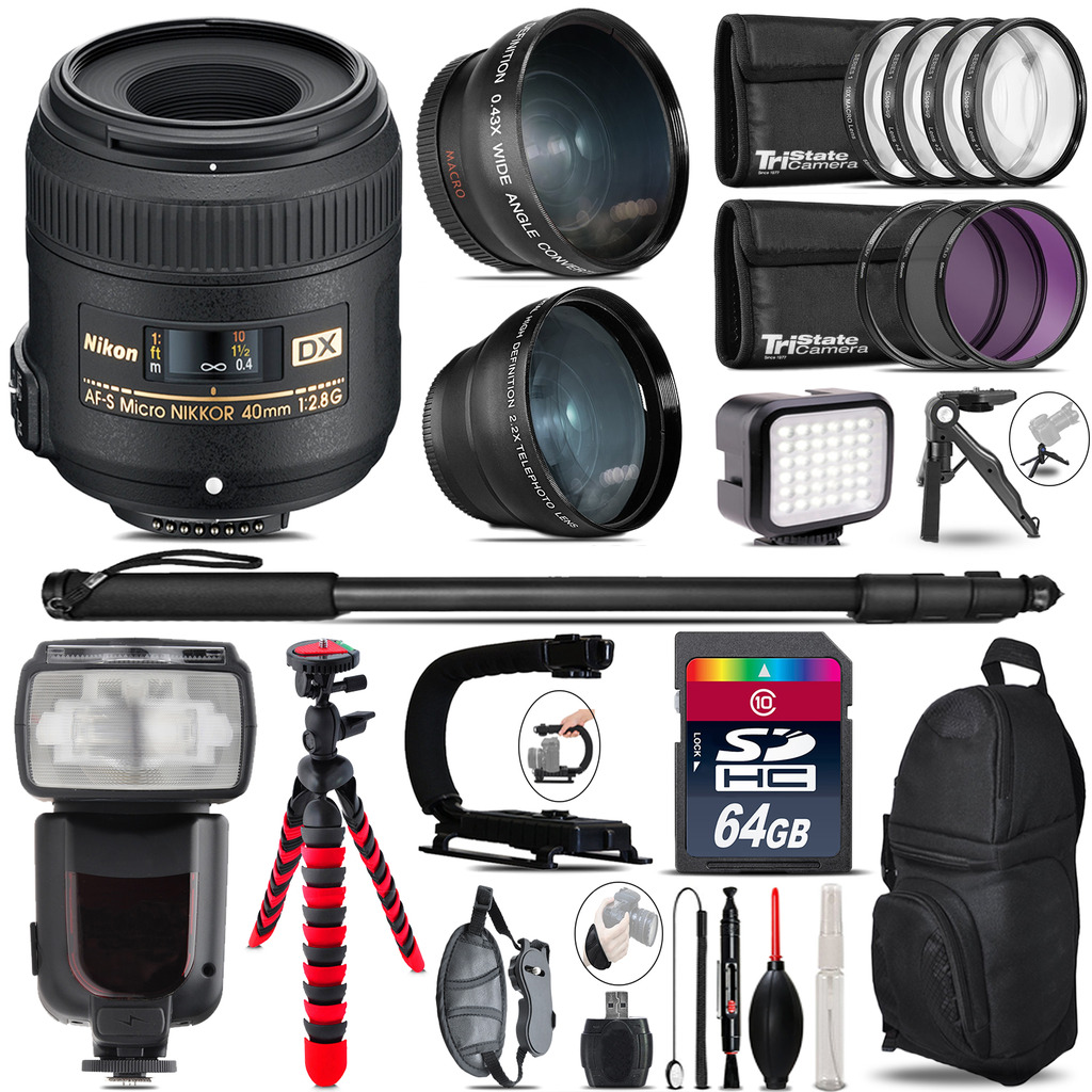 Nikon AFS 40mm 2.8 + Pro Flash + LED Light + Tripod - 64GB Accessory Bundle *FREE SHIPPING*