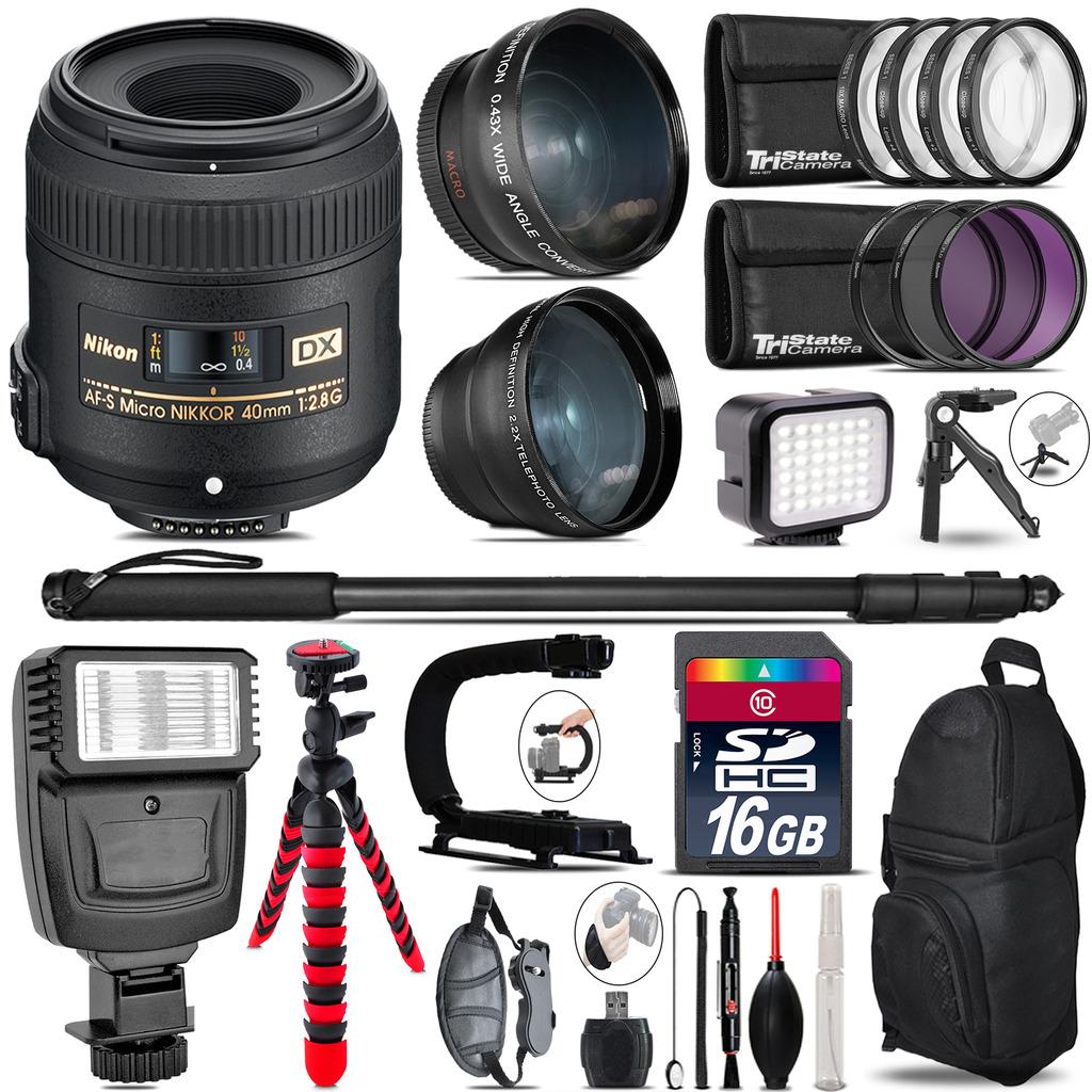 Nikon AFS 40mm 2.8 + Slave Flash + LED Light + Tripod - 16GB Accessory Bundle *FREE SHIPPING*