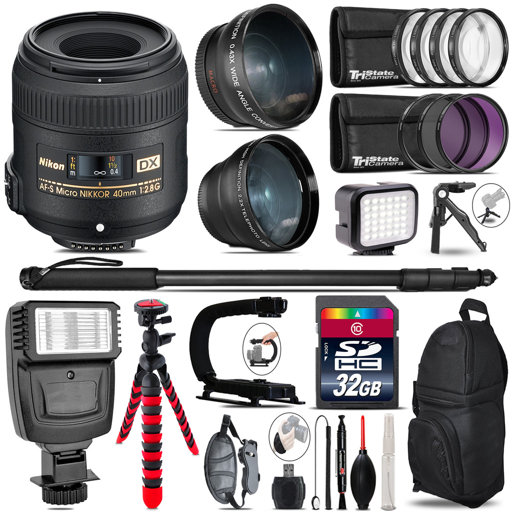 Nikon AFS 40mm 2.8 + Slave Flash + LED Light + Tripod - 32GB Accessory Bundle *FREE SHIPPING*